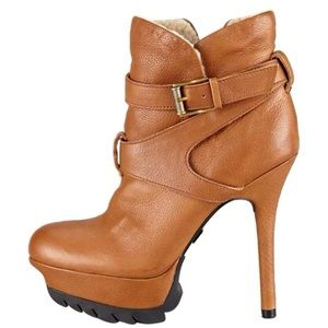 SAM EDELMAN DISTRESSED PLATFORM BOOTIES